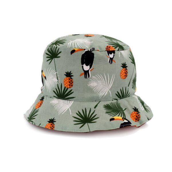 Gorro tipo pescador, reversible, ideal para proteger a los niños del sol. Con estampado de animales y geométrico naranja.