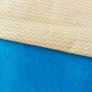Combinación Azul con zigzag pequeño en amarillo y blanco