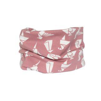 Cuello tipo braga con estampado en blanco y rosa de papiroflexia.
