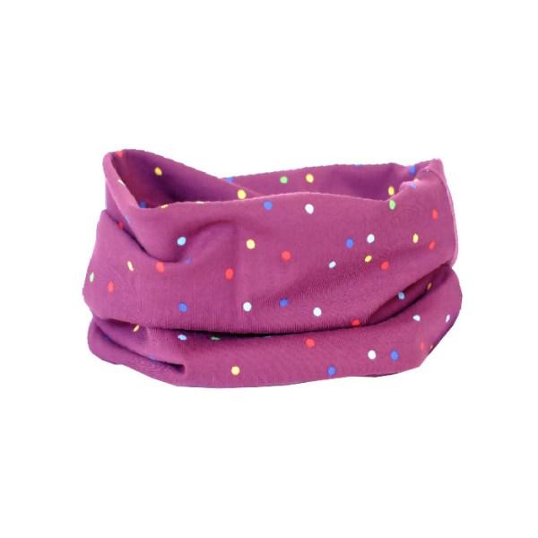 Cuello de entretiempo con pequeños lunares de colores sobre morado