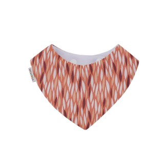 Babero tipo bandana, con tejido absorbente y bonito estampado en colores tierra y aires retro
