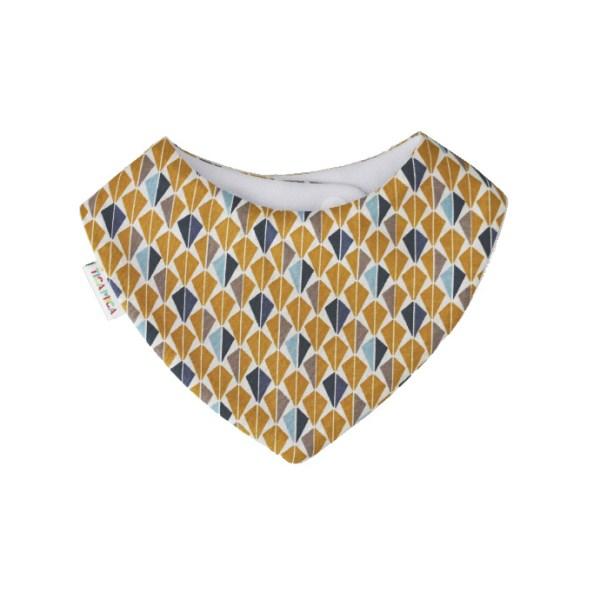 Babero absorbente tipo bandana de estampado geométrico morado y mostaza con aires vintage