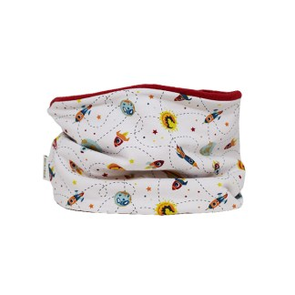 Cuello polar tipo braga de cohetes en blanco y azul o rojo en contraste. Caliente, confortable y fácil de poner.