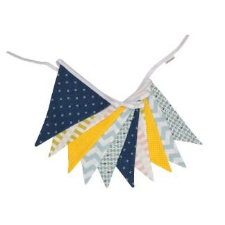 Guirnalda decorativa tela en azul y amarillo