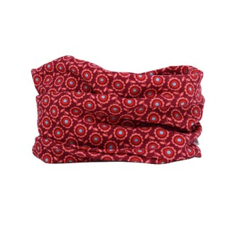 Cuello entretiempo en rojo de flores.