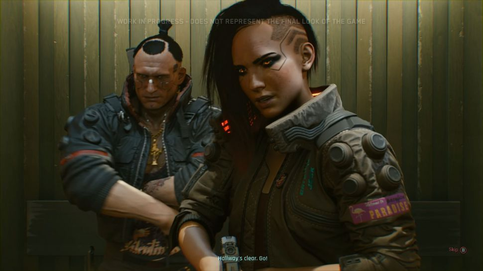 Two characters from Cyberpunk 2077