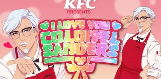 "The promo image for the KFC game ""I Love You, Colonel Sanders!"""