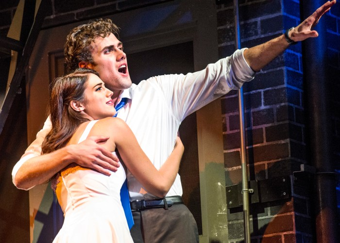 "Jenna Burns as Maria and Marc Koeck as Tony in the ""West Side Story."""