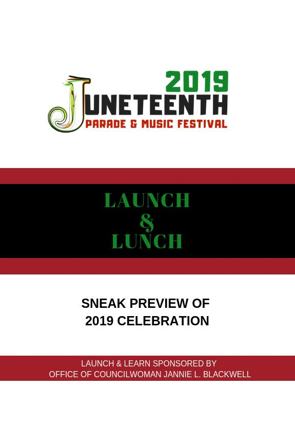 2019 Juneteenth Launch  Lunch Tickets in Philadelphia PA United States