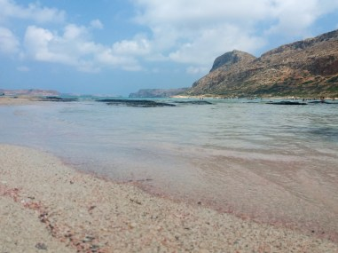 Pink sand at Balos Lagoon