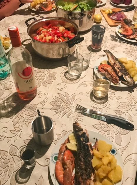 Homemade dinner with friends, Croatia