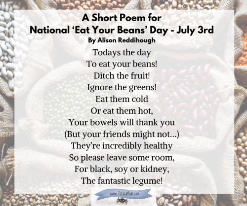 A Short Poem for National 'Eat Your Beans' Day by Alison Reddihough