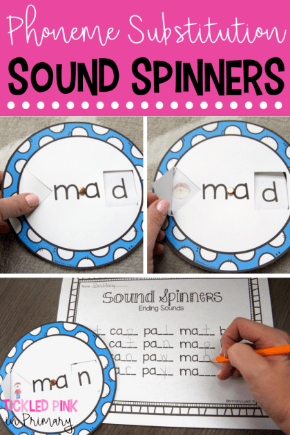 These sound spinners are a fun way to let students work on sound substitution. Learn about phoneme manipulation and how to change 1 sound to make new words! #soundsubstitution #phonemesubstitution #literacycenters #cvcwords #kindergarten #wordwork
