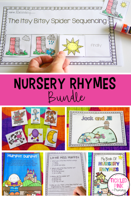 Help your preschool or Kindergarteners learn nursery rhymes. This bundle includes 10 different themes with a variety of activities to do including sequencing, vocabulary cards or puppets, poems, emergent readers, a comprehension quiz, and more!