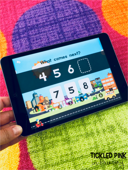 This number counting iPad app is great for Kindergarten math practice. Check out these free kindergarten ipad apps for math and literacy. #kindergartenapp #free #kindergarten #counting