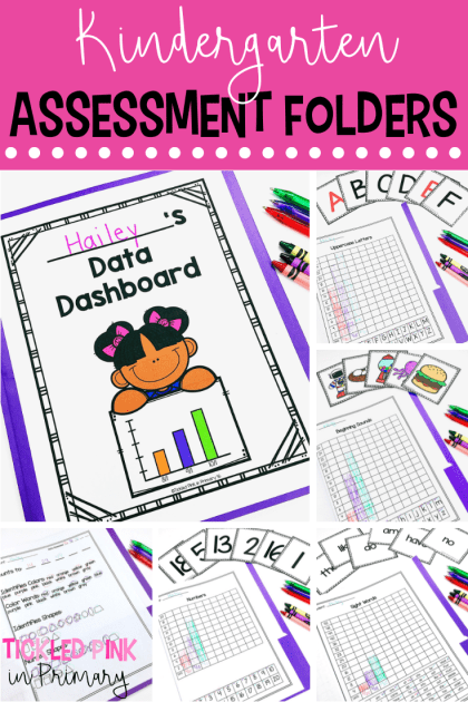 These Kindergarten assessment and data folders include checklists, graphs to keep track of student progress, and flashcards for assessing. Click to see all the skills included such as letters, numbers letter sounds, etc. #kindergarten #assessments #testing #checklists