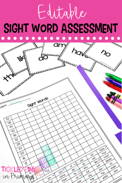 Assess your students with these EDITABLE sight word flashcards and tracking sheet. These assessments and data tracking folders are a great way to see what your students know. Use these for report cards, parent teacher conferences, or for use with any of your reading or math assessments. #assessments #kindergarten #reportcards #sightwords