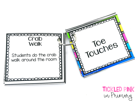 30 quick brain breaks to use In your classroom. Put them on a ring to make them portable! These are EDITABLE too.
