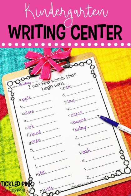 Click to find resources and tips for your kindergarten writing center. Try this alphabet write the room. #writingcenter #writing #kindergarten #writetheroom