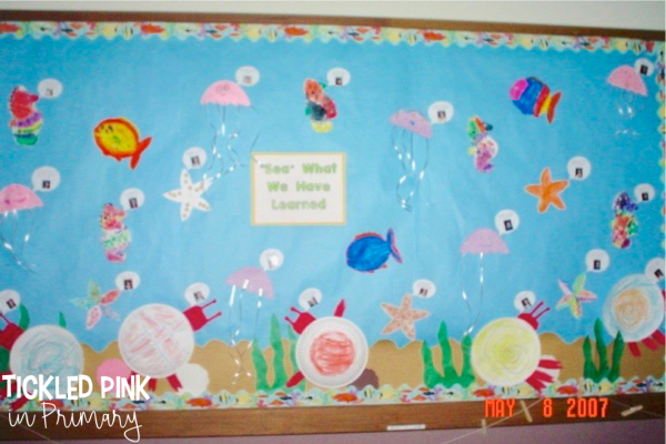 "Looking for an ocean themed bulletin board? Make some ocean animal crafts and put ""Sea What We Learned"" for a great end of the year bulletin board. #endoftheyear #ocean #bulletinboard"
