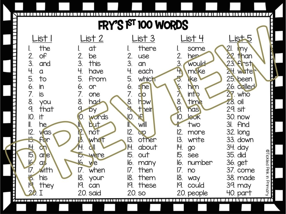medium resolution of Sight Words Fluency Find It: 1st 100 Fry Words • Tickled Pink in Primary