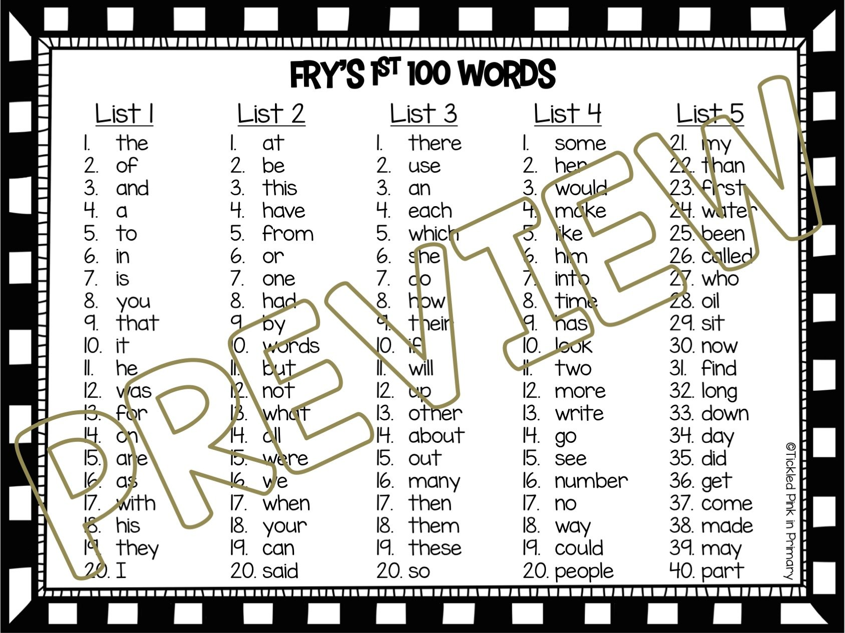 hight resolution of Sight Words Fluency Find It: 1st 100 Fry Words • Tickled Pink in Primary