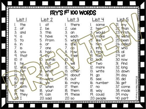 small resolution of Sight Words Fluency Find It: 1st 100 Fry Words • Tickled Pink in Primary