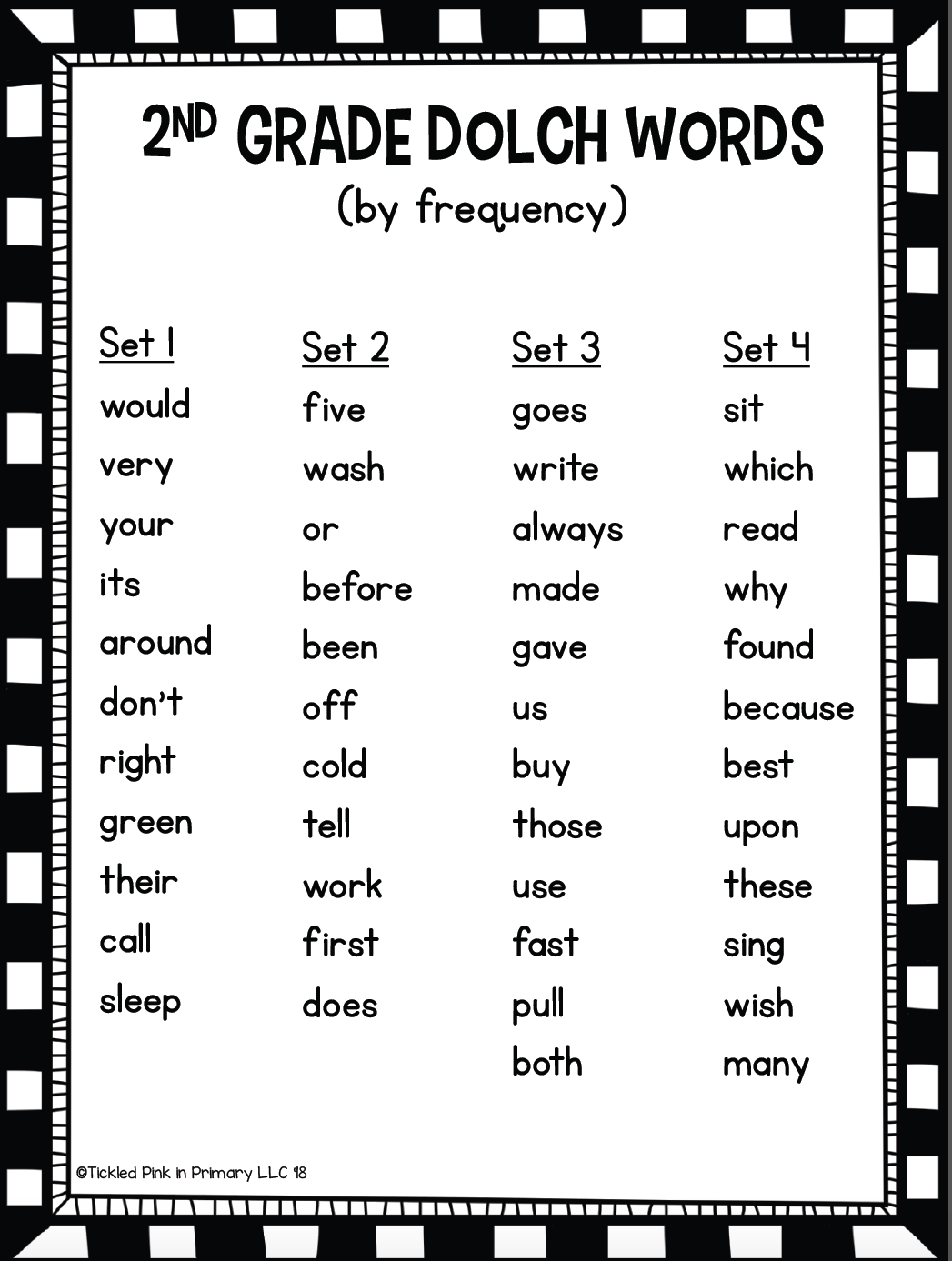 Dolch Second Grade Sight Words Fluency Find It Tickled