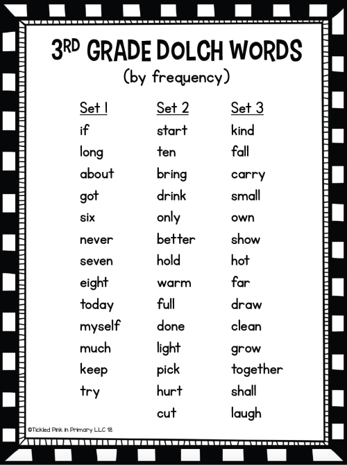 small resolution of Dolch Third Grade Sight Words Fluency Find It • Tickled Pink in Primary