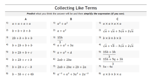 Vary and twist: Collecting like terms – TickTockMaths