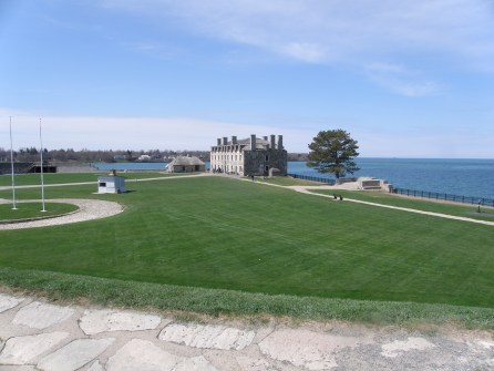 A view of the French Castle and Lake Ontario from the Walls of the fort