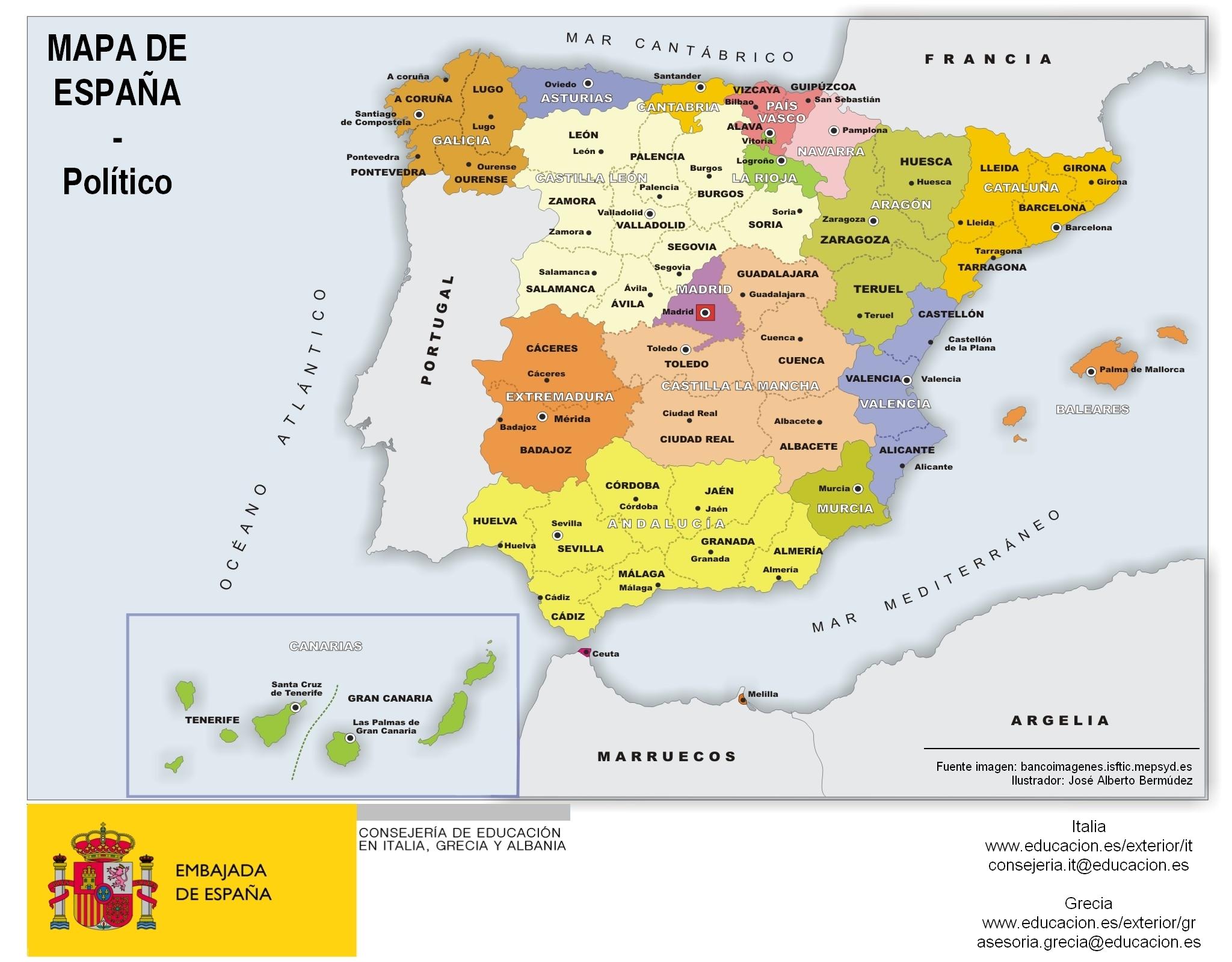 Mapa de Espaa por comunidades y provincias infografia