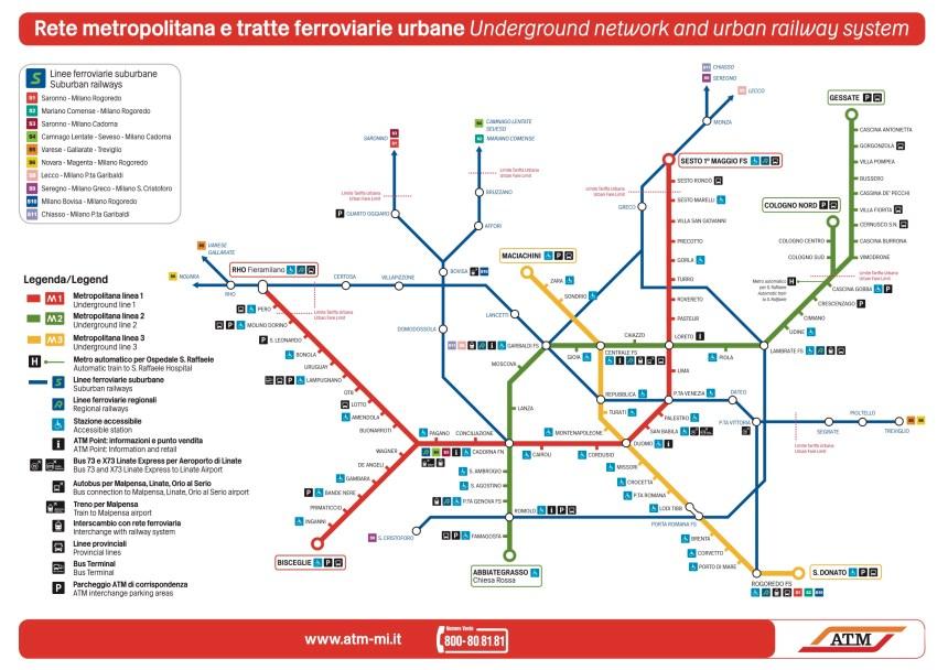Plano del Metro de Milán / Milan subway