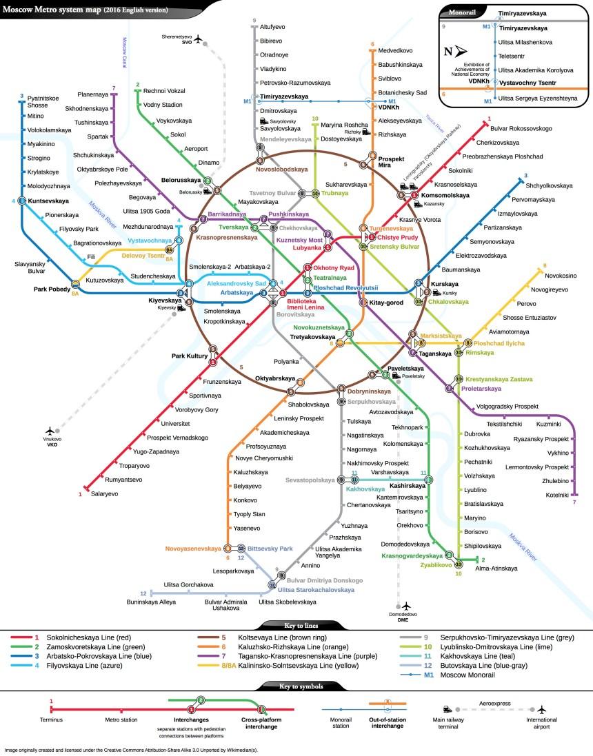 Plano del Metro de Moscú / Moscow subway
