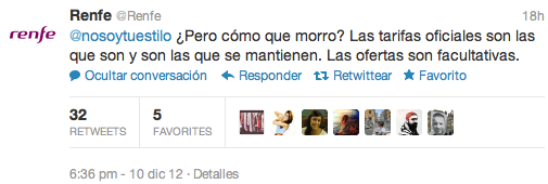 """El tweet del """"morro"""" de Renfe"""