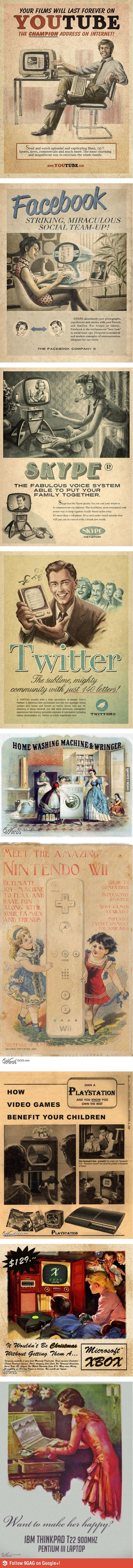 Publicidad vintage para tecnología moderna