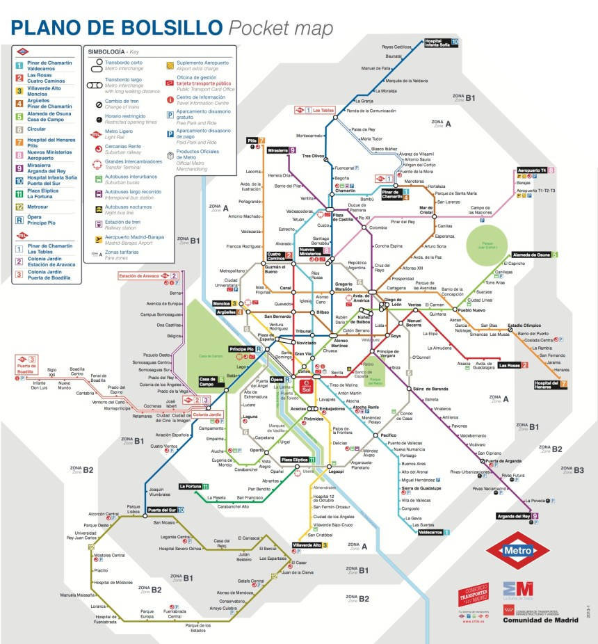 Plano Metro Madrid 2013 / Madrid subway