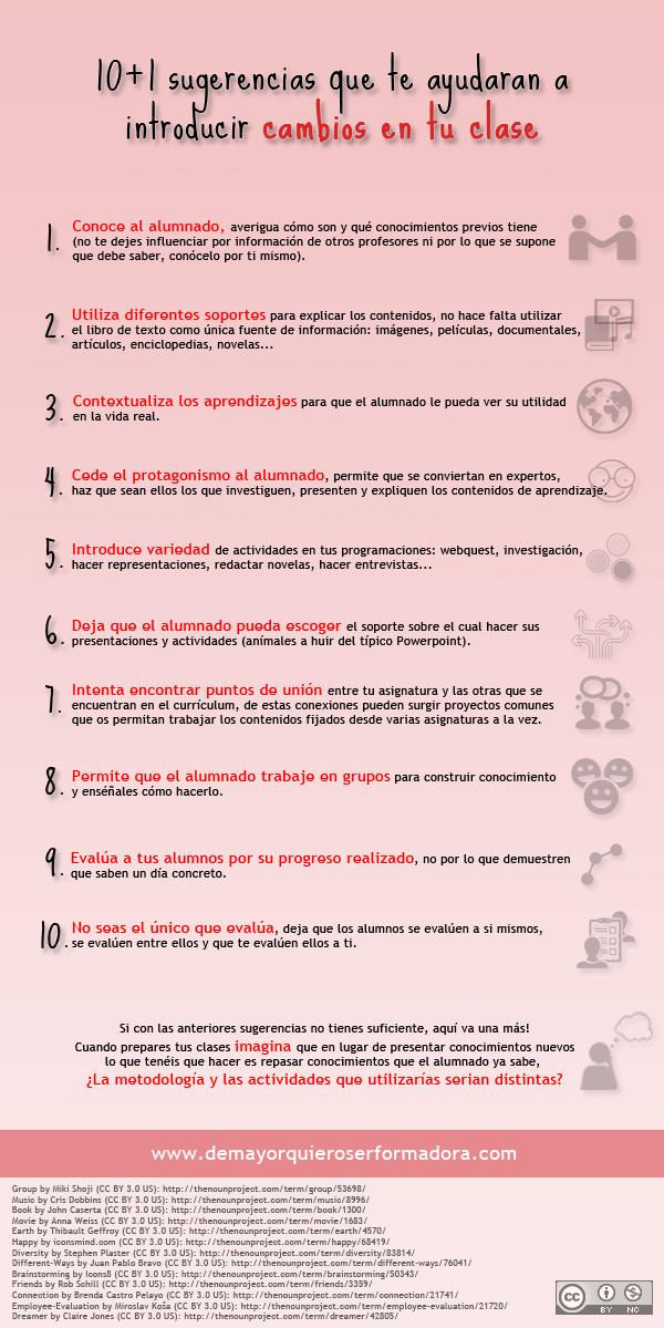 10+1 sugerencias que te ayudaran a introducir cambios en tu clase