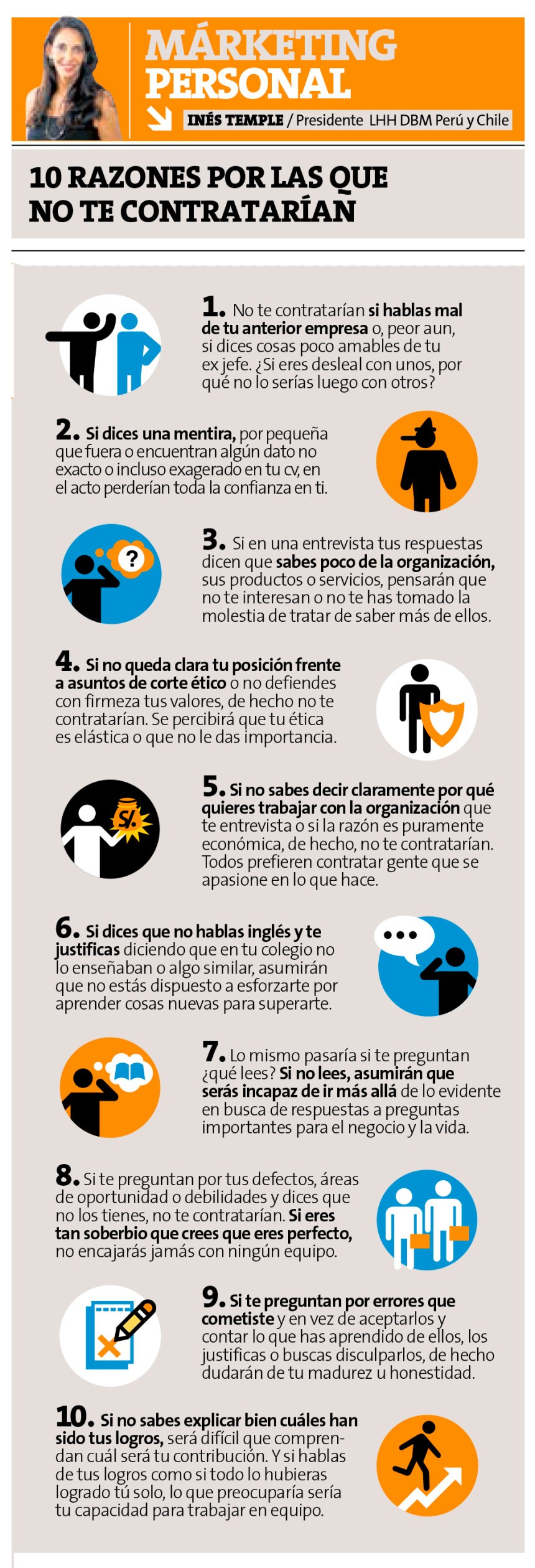 10 razones por las que no te contratarían (versión 2)