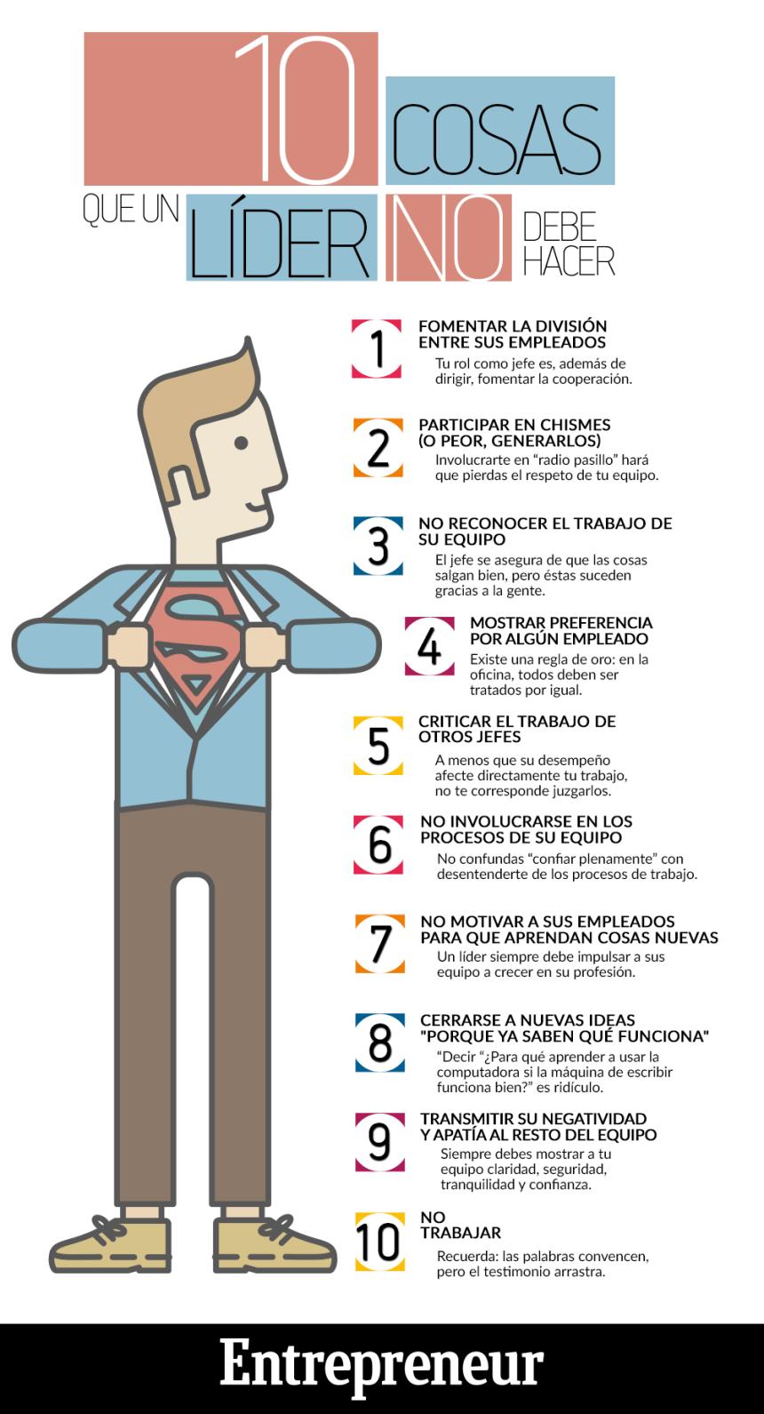 10 cosas que un líder no debe hacer