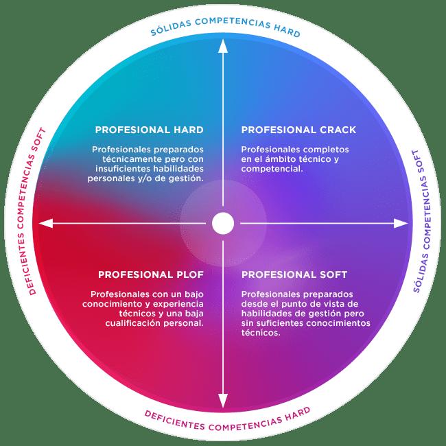Tipos de profesionales en función de las competencias hard y competencias soft