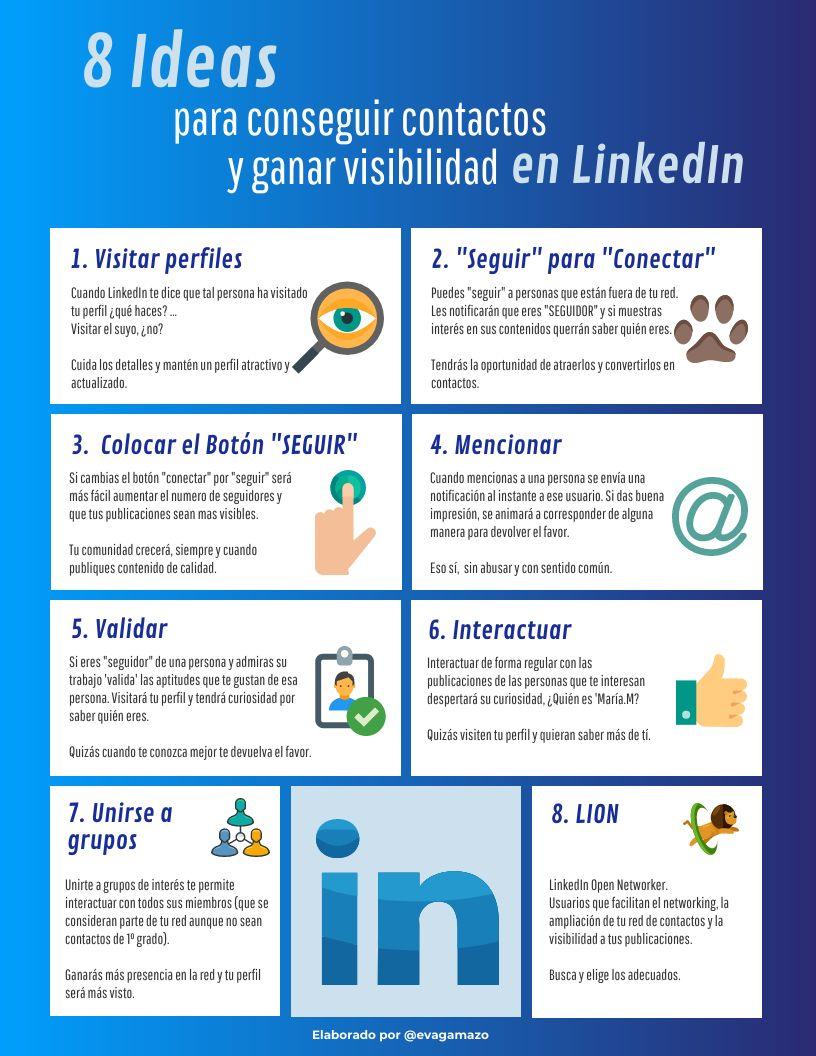 8 ideas para conseguir contactos y ganar visibilidad en LinkedIn