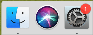 Badged System Preferences icon in the Dock