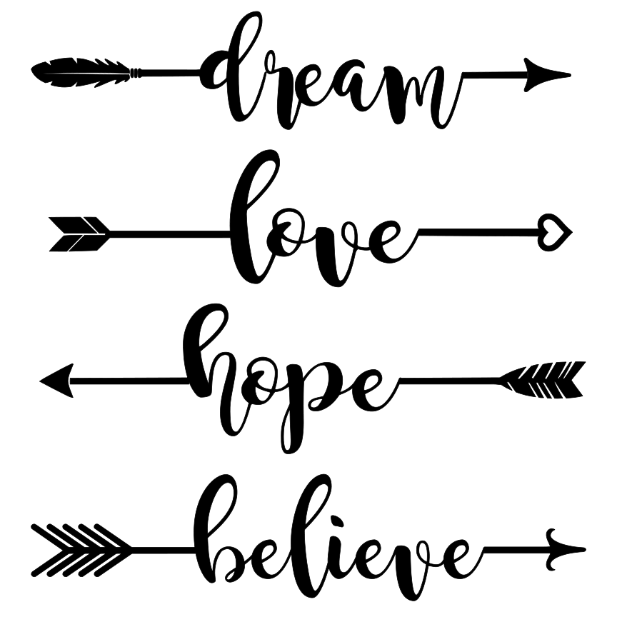 Single Line Word Art : Dream hope love believe arrows word art svg tidbits