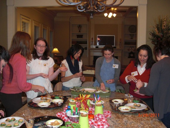 """Applettes making """"Cheeseburger in Paradise Cookies""""  for the Lesson on """"Loving your Children""""  which we tied into a Kid's Birthday Party complete with decorations and a fun meal."""