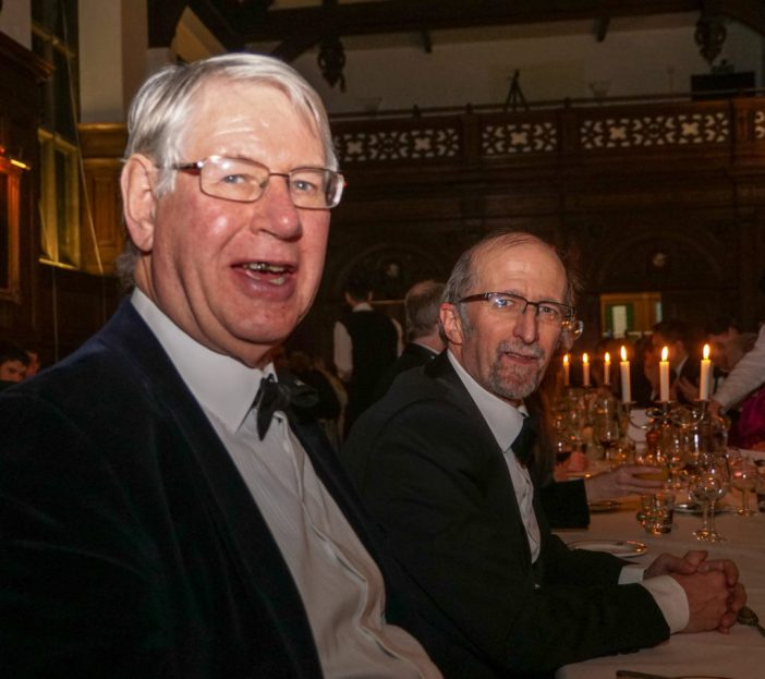 Charles Relle and Alan Dean at the dinner celebrating CUTwC's 60th (17 January 2015).