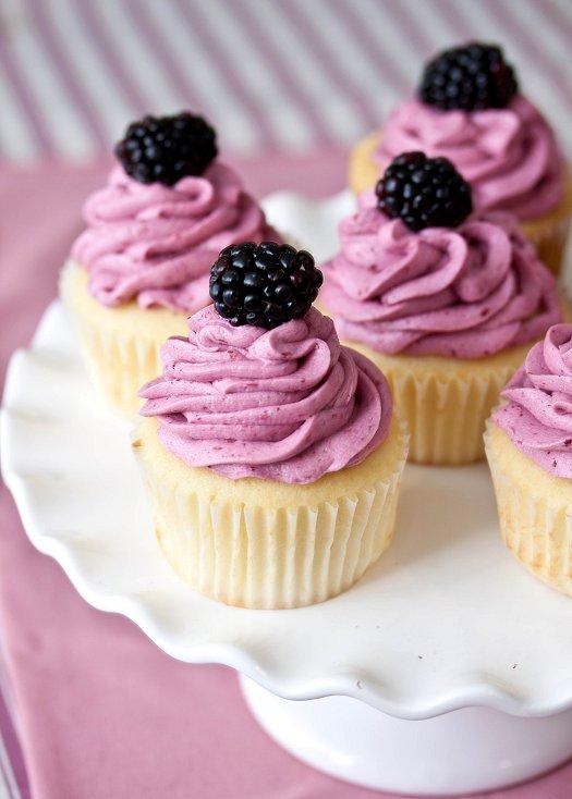 Lemon Cupcakes with Blackberry Buttercream
