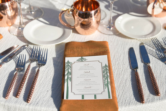 Wedding Table set with napkins and silverware