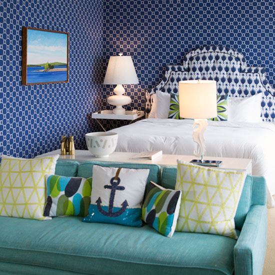 Bedroom suite with blue decor