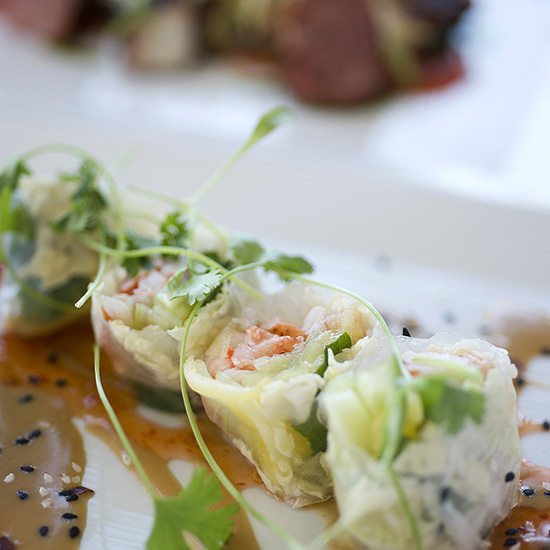 lobster spring rolls at The Tides Beach Club